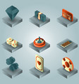 casino color gradient isometric set vector image