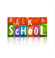 Color blocks with back to school text vector image vector image