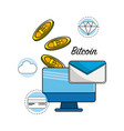computer with digital elements to bitcoin currency vector image vector image