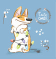 corgi dog play christmas garland poster vector image