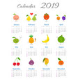 cute annual fruit calendar 2019 vector image vector image
