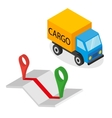 Delivery cargo and map with pins vector image vector image