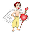 fairy boy with a heart shape symbol on bow vector image