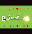 Food ideas concept creative light bulb design vector image vector image