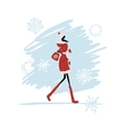 Girl in winter coat for your design vector image vector image