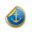 golden and blue nautical anchor sticker icon on vector image vector image