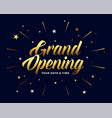 grand opening ceremony flyer in golden style vector image vector image