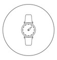 hand watch icon black color in circle or round vector image vector image