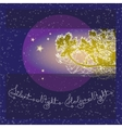 Handwritten text Silent Holy Night and branch on vector image