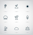 harmony icons set with overcast foliage sprout vector image vector image