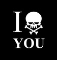 I hate you Symbol of hatred of skull bone Skull vector image vector image
