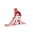 ice hockey players action cartoon sport graphic vector image vector image