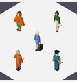 isometric person set of lady hostess pedagogue vector image vector image