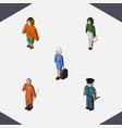 isometric person set of lady hostess pedagogue vector image