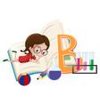 letter b and little girl vector image