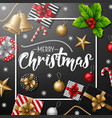 merry christmas with black background vector image vector image