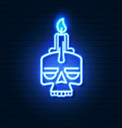 neon skull with candle on brick wall vector image