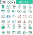 Office modern color flat line outline icons vector image vector image