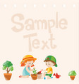 paper design with kids planting trees vector image vector image