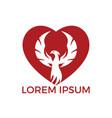 phoenix heart logo design vector image vector image