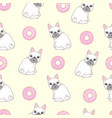 pink seamless pattern with funny pug and donut vector image vector image