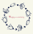 round floral frame cute romantic tulip outlined vector image vector image
