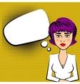 Sad beautiful woman with purple hair vector image