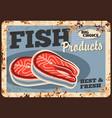 salmon fish rusty metal plate fish market menu vector image vector image