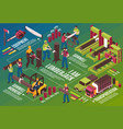 sawmill works isometric background vector image vector image