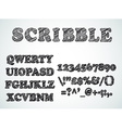 Scribble bordered alphabet with pen sketch effect vector image vector image