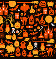 seamless pattern of halloween with pumpkins and vector image