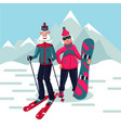 senior adult couple on a ski resort cartoon vector image vector image