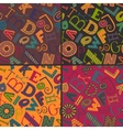 set four color variations seamless patterns vector image vector image
