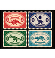 set of postage stamps dinosaurs vector image vector image