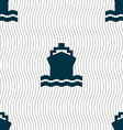 ship icon sign Seamless pattern with geometric vector image vector image