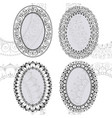 sketch of oval frames henna style vector image