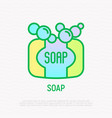 soap with bubbles thin line icon vector image