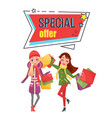 special offer super sale price off shopping women vector image vector image