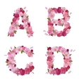Spring alphabet with cherry flowers ABCD vector image vector image