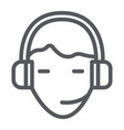support line icon service and assistance headset vector image vector image