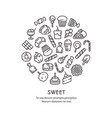 sweet desserts thin line icons - candies round vector image