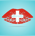 switzerland flag lipstick on the lips isolated on vector image vector image