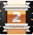 Two years anniversary celebration golden and vector image vector image
