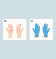 virus on humans hands and hands in medical gloves vector image vector image