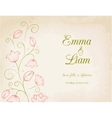 Wedding invitation card with pink lily flowers vector image