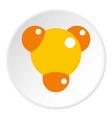 yellow molecule icon circle vector image vector image