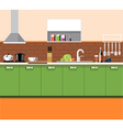 Kitchen plane with green furniture and brown brick vector image