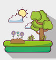 sun weather with clouds and tree nature vector image