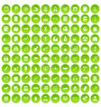 100 magnifier icons set green circle vector image vector image