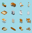 bakery production icons collection vector image vector image